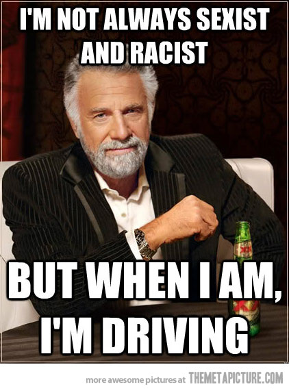 """Quote from driving lesson: """"When I see a ****** ***** driving a Volvo on a cell phone, I get the hell away."""""""